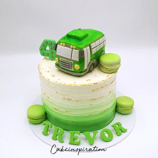Topper collection - design 12- Ombre green Bus children DIY topper