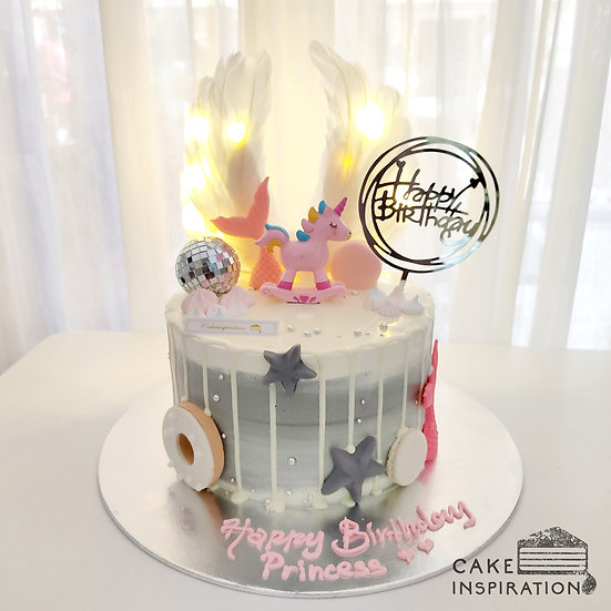 Unicorn Wing Mermaid Drip Topper Cake ( no.54 )
