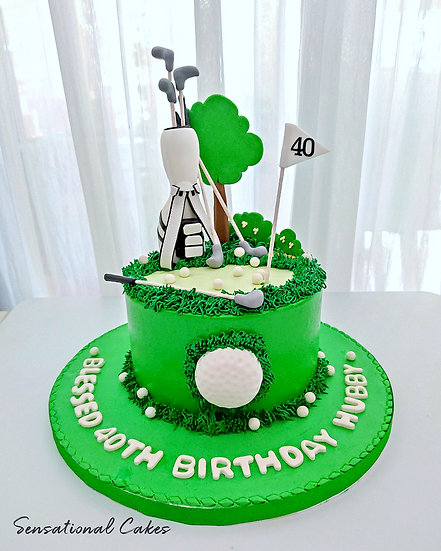 Golf Field Hole-in-one Sport Man Theme 3D Customized Cake