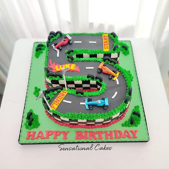 Racing Cars Number 5 Design 3d Boy , Kid , Children 3D Customized Cake