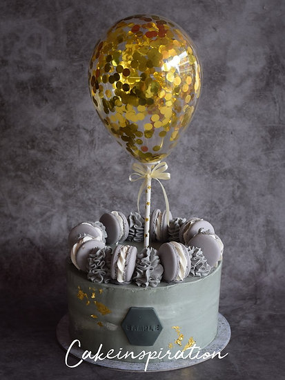 Balloon confetti - design 01 ( concrete gray gold confetti )
