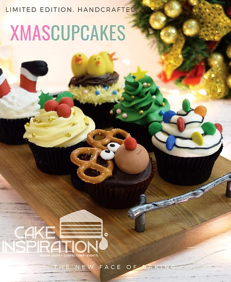 6 assorted handcrafted designer Xmas Theme Cupcake Gift Set ( CD#15 )