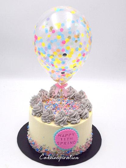 Balloon confetti - design 18 ( cream base, gray pastel swirls )
