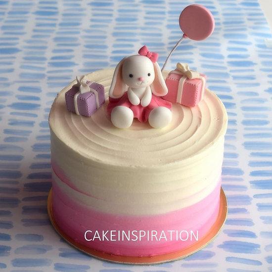 Design f /girly pink large ear cute bunny topper cream cake - children customize