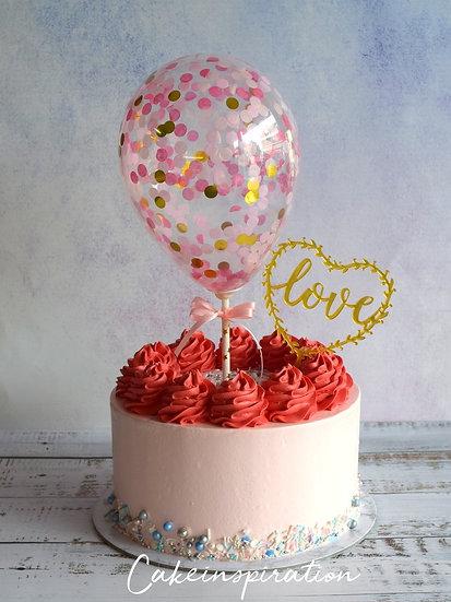 Balloon confetti - design 02 ( pastel red rainbow confetti )