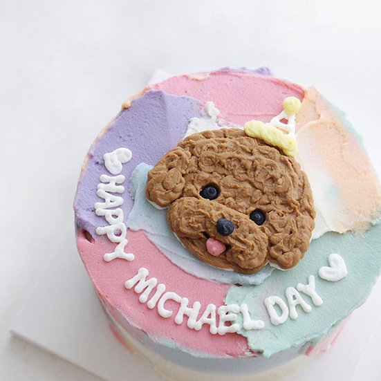 Colorful Pastel Watercolor Design Customized Pet Cake - 6inch