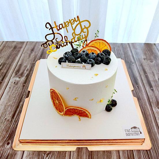 (HB07) Lemon Blueberry Garden Theme Cake - 6inch