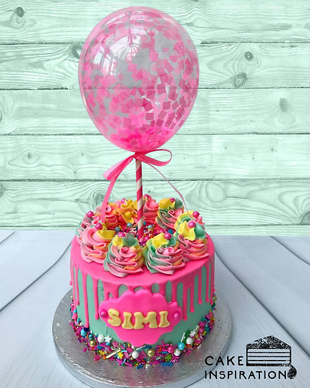 Balloon confetti - design 12 (pink and teal drip confetti)