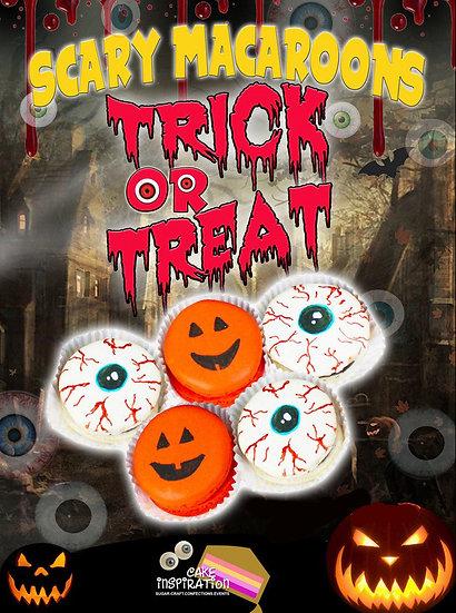 SCARY Macaron set of 6 pcs ( Eyeballs and Pumpkin design ) /1 day lead time