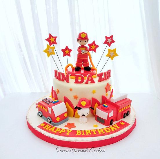Fire Man Truck Engine Design Children 3D Customized Cake