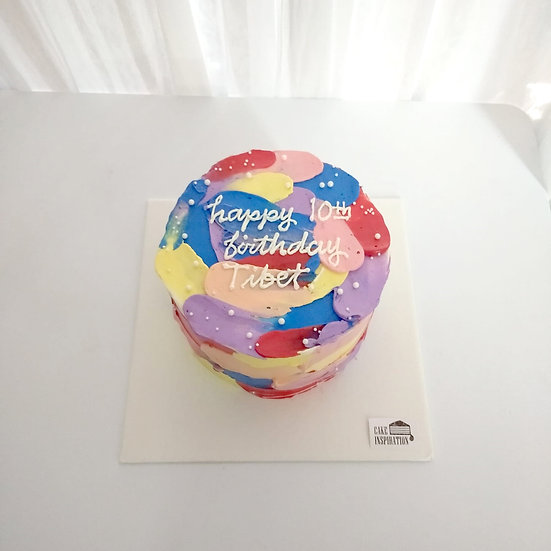 Watercolor Style - Brush Strokes Paint Cake ( W03 )