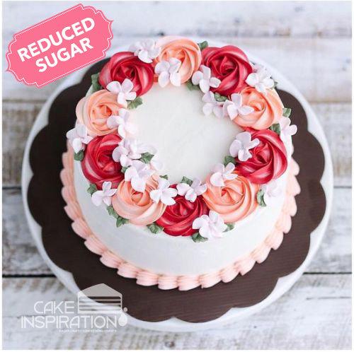 ROSETTE CREAM ART COLLECTION - Design 23 (Rose Red, 2 tone Rosette wreath design