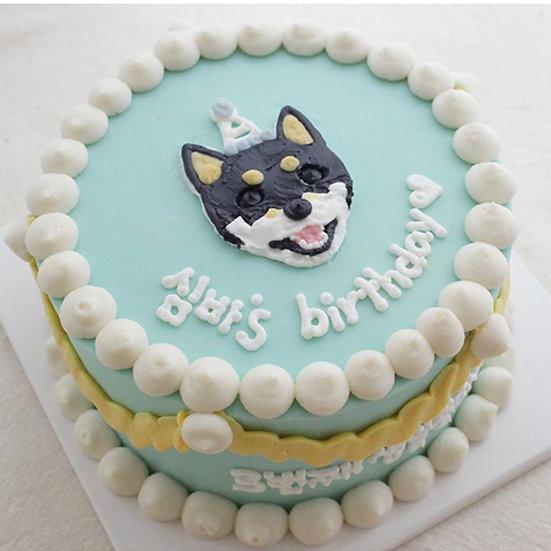 Pet Blue and Yellow Streamers  Designer's Theme Birthday Cake