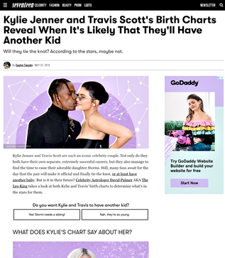 Kylie Jenner and Travis Scott's Birth Charts Reveal When It's Likely That They'll Have Another Kid
