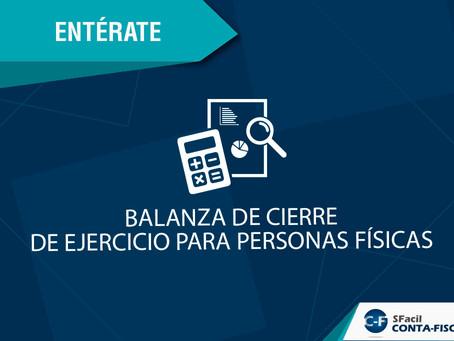BALANZA DE CIERRE DE EJERCICIO PARA PERSONAS FÍSICAS