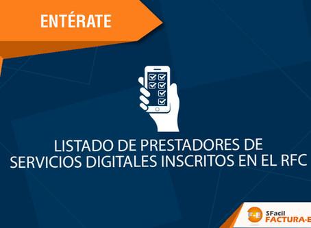 LISTADO DE PRESTADORES DE SERVICIOS DIGITALES INSCRITOS EN EL RFC