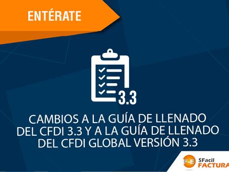 CAMBIOS A LA GUÍA DE LLENADO DEL CFDI 3.3 Y A LA GUÍA DE LLENADO DEL CFDI GLOBAL VERSIÓN 3.3