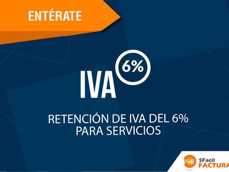 RETENCIÓN DE IVA DEL 6% PARA SERVICIOS
