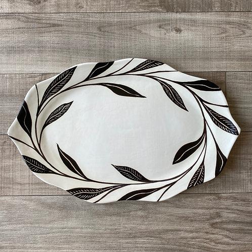Large Black Leaf Platter (Scalloped)