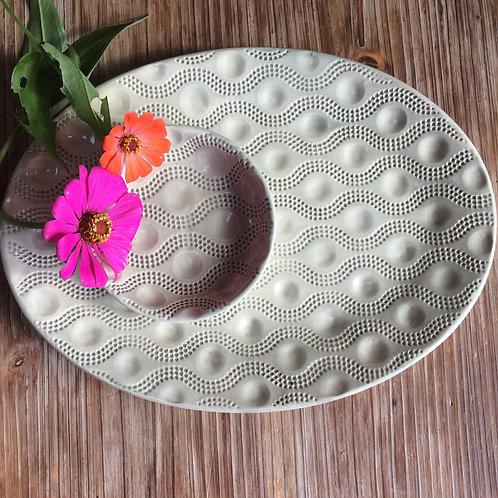 Oval Wave Dot serving Platter & Bowl