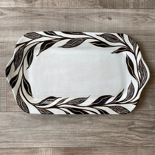 Large Black Leaf Platter (Rectangle)
