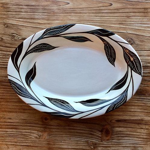 Large Black Leaf Deep Platter