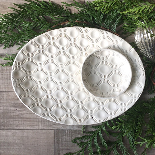 Oval Wave Dot serving Platter & Bowl