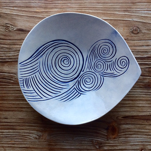 Teardrop Hand-Carved Wave Bowl
