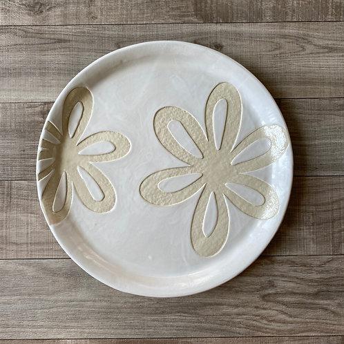 Ivory & White Flower Platter