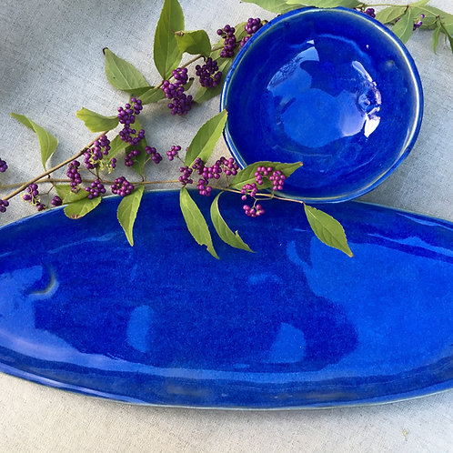 Sea Blue Oval Platter & Bowl