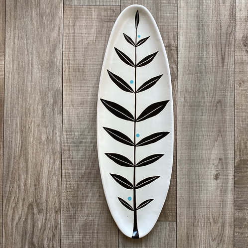 Long Leaf Platter in Black and Turquoise