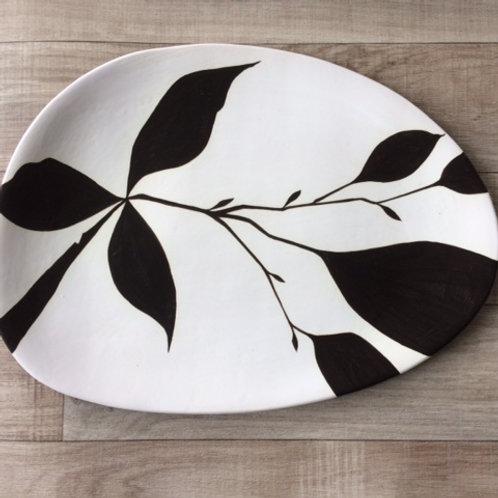 Large Black Leaf Platter (Organically Shaped)