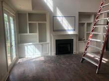 Crowned Mantel and Box Shelves