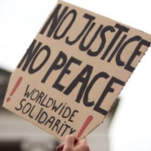 Protesters demonstrating for peace