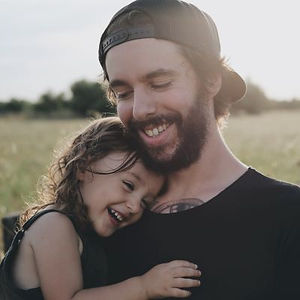 A young father with his daughter