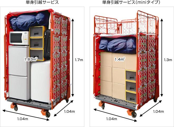 単身引っ越しサービスの荷物量イメージ