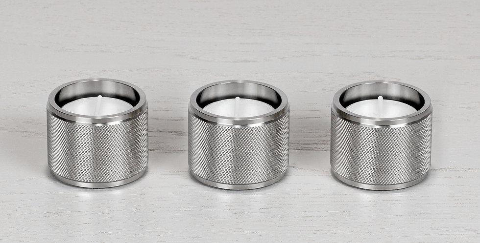 TEALIGHT CANDLE HOLDER / STEEL / SET OF 3