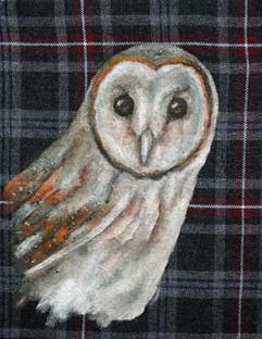 Owl on grey tartan