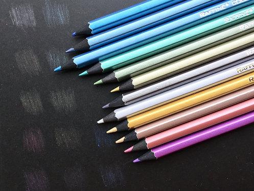 メタリックカラー色鉛筆 12色 ケース入り キラメク鉛筆