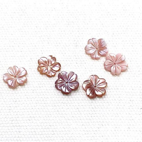 天然貝手彫り花型ビーズ 2個セット