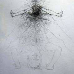 Detail of 1.5 x 7m 'Discordant Diary' Drawing 2004