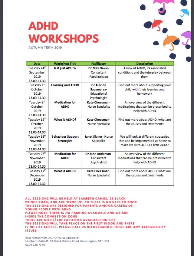 ADHD workshops by Lambeth CAMHS Autmn 20