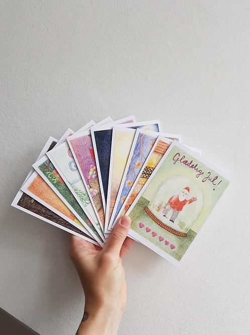Julekortsæt med 10 kort, Stense Andrea Lind-Valdan