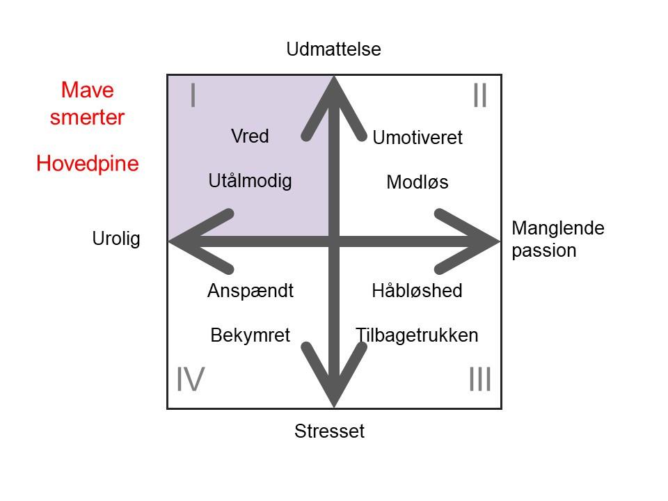 Figuren illustreret at fysiske gener forbundet med zone 1 er mave smerte og hovedpine.