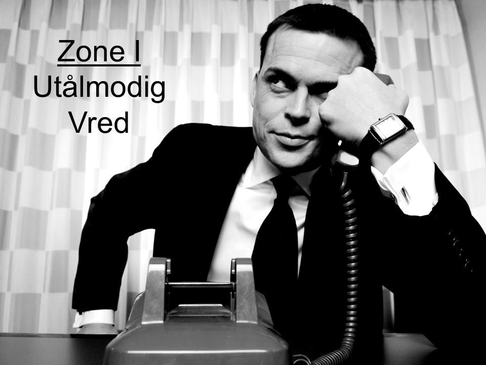 zone 1, utålmog og vrede. Billedet forestiller en forretningsmand med en telefon i hånden og han ser irriteret og vred ud