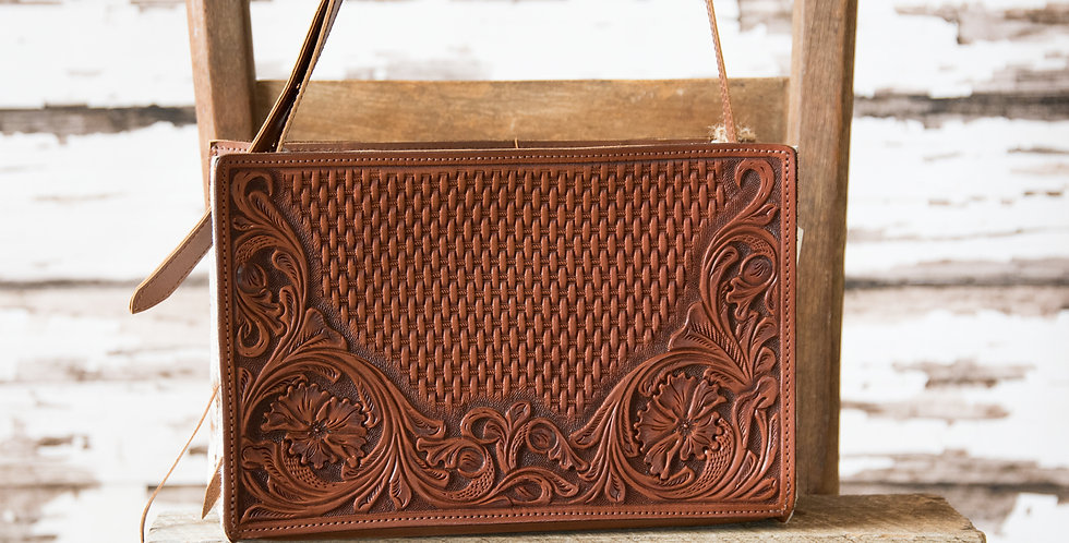 Red Horse Design Company: Small Floral Carved Tote - #327