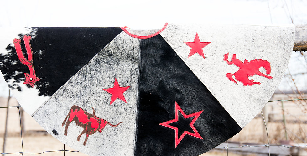 Red Horse Design Company: Christmas Tree Skirt #1 Cowhide and Leather