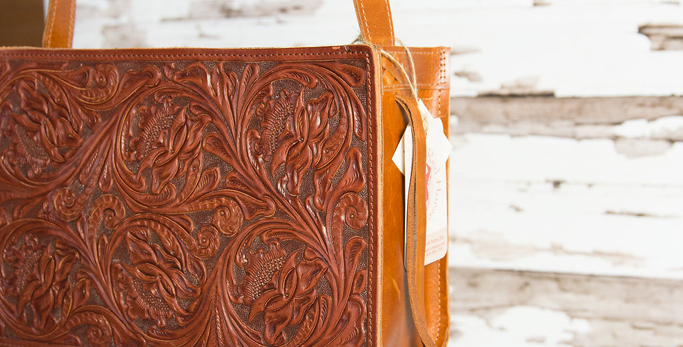 Red Horse Design Company: Small Floral Carved Tote - #225