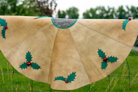 Cowhide Christmas Tree Skirt