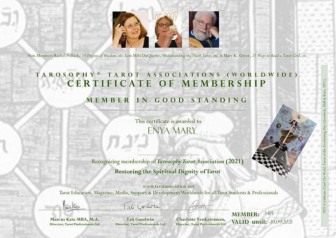 Tarot Association Certificate 2021 Enya